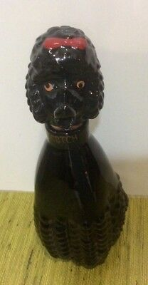 REDUCED RARE 1960'S VTG RELCO Of Japan Black Ceramic Poodle Scotch Decanter