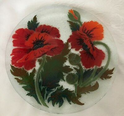 """Peggy Karr - Red Poppies 8"""" Plate - Signed & Retired"""