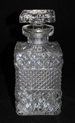 "Antique Lead Crystal Square Liquor Decanter, Diamond Cut, 8 1/2"" Tall"