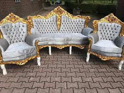 Antique Baroque Set Italian Style: Sofa/couch/settee  With Two Chairs (3 Pcs)