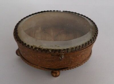 Antique French Glass Topped Gilt Brass Trinket Box 19th Century