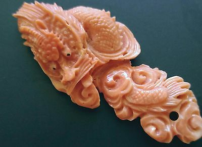 Antique Chinese Hand Carved Big Dragon Pendant 62Mm X 26.5 Mm Light Salmon Color