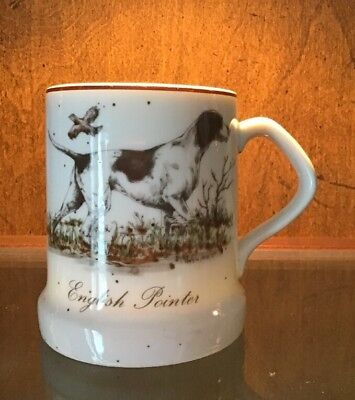 Vintage Enesco 1987 ENGLISH POINTER HUNTING DOG Coffee Mug Speckled Stoneware