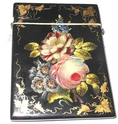 Quality Antique Victorian Inlaid Hand Painted Card Case C1890 M.o.pearl Gold