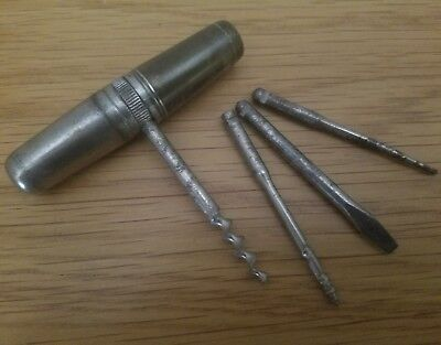 Vintage Pocket Corkscrew & Tool Set Made in Germany Nickel Plated Storage Tube