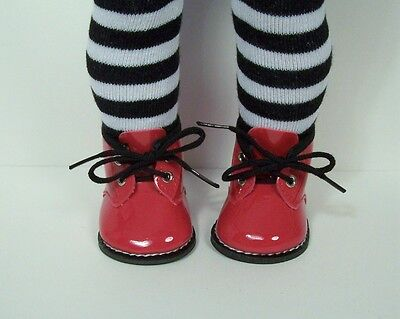 """RED Patent Winter Dress-Up Work Boots Doll Shoes For 18"""" American Girl (Debs)"""