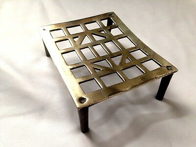"Antique Heavy Solid Brass Trivet Stand Plant Stand 6"" X 5"" Rectangle"