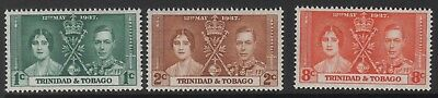 1937 Coronation Stamps From Trinidad & Tobago. Mounted Mint.