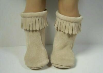 """CREAM Moccasin Zipper Boots w//Fringe Doll Shoes For 18/"""" American Girl Debs"""