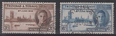 KING GEORGE VIth VICTORY STAMPS. TRINIDAD & TOBAGO. FINE USED.