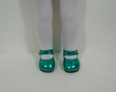 "SEA GREEN Metallic Doll Shoes For 14"" American Girl Wellie Wisher Wishers (Debs)"