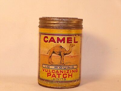 Vintage Camel Rubber Tube Patch Vulcanizing Advertising Tire Repair Patches Can