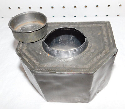 Antique Pewter Metal Tea Caddy with Lid