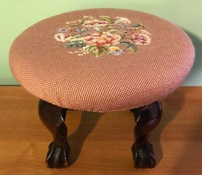 VINTAGE 1920's MAHOGANY CLAWFOOT WOOD STOOL WITH FLORAL NEEDLEPOINT TOP