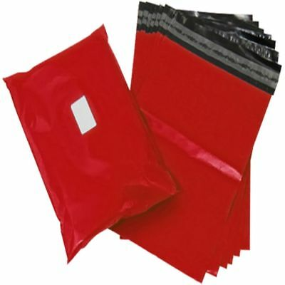 """10 Red Plastic Mailing Bags Size 14x20"""" Mail Postal Post Postage Self Seal"""