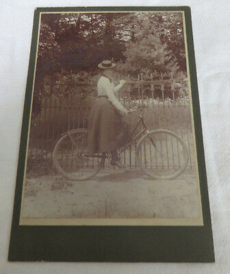 Antique Cabinet Card Photograph Of Young Woman On Bicycle