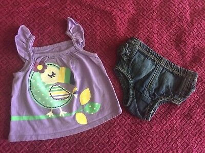 Pre-Owned Old Navy Outfit For Baby Girl Size 3-6 Months (Diaper Cover+Shirt).