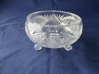 Vintage Crystal Candy Dish With Three Feet