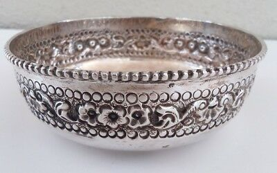 """Antique Sterling Silver Repousse Bowl Dish 4"""" Floral Marked SILVER S 75.9g"""