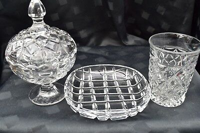 Retro Crystal/cut Glass Very Pretty, Dish, Vase And Boxed Candy Dish