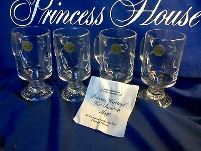 PRINCESS HOUSE 4 HERITAGE TEMPERED CRYSTAL GLASS MUGS Excellent as New