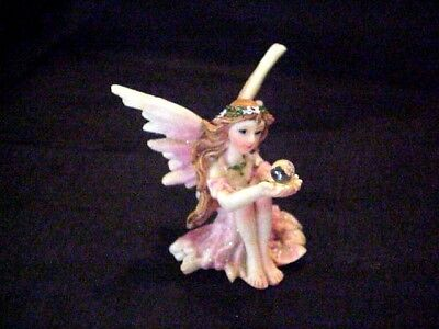 "Miniature sitting Fairy with crystal ball Fairy garden figure 2"" x 2"" excellent"