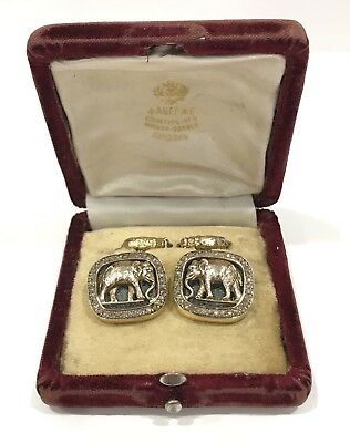 RARE! Antique Faberge Russian Silver & Diamond Enamel Elephant & Bear Cufflinks