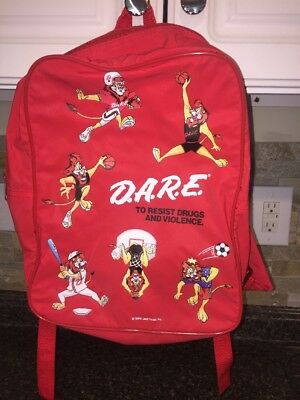 Vintage 1998 DARE Drug Abuse Resistance Education Daren Lion Red Backpack