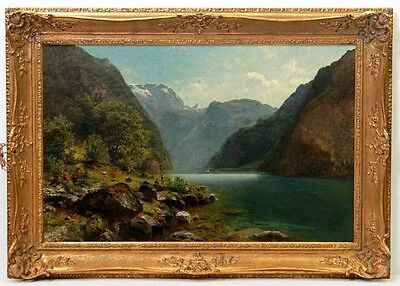 Romantic  Landscape Lake in Mountains Amazing Antique Oil Painting