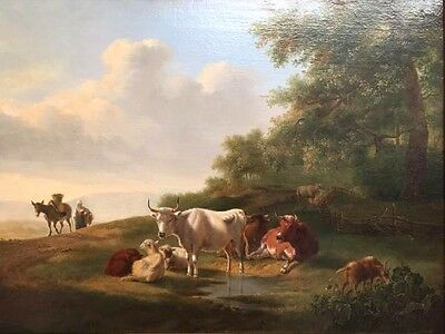 J. Marty  Cows at the River  Amazing Antique Oil Painting 19th C