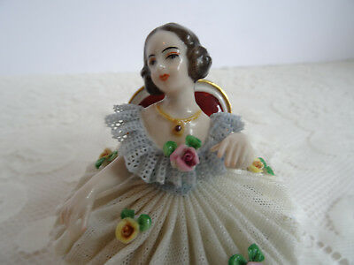 Antique / Vintage Dresden Porcelain Lace Figurine - Lady At Ball - Germany