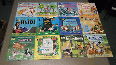 LOT OF 12 +1  Walt Disney  Read Along 24 Page Book and Record 33-1/3 RPM