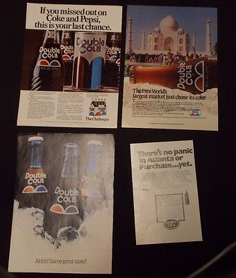 DOUBLE COLA Beverage Magazine ADS from 1970's Lot of 4 ADS