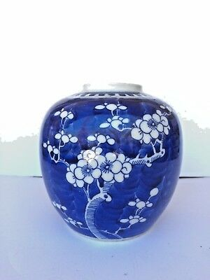 19th Century Chinese Blue and White Porcelain Prunus Hawthorn Ginger Jar KANGXI
