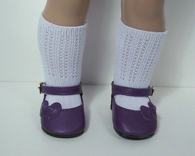 """PURPLE SideBow EZ2 Close Doll Shoes For 18"""" American Girl (Debs)"""