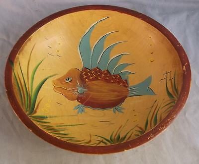 Vintage Wooden Bowl Hand Painted Fish Rainbow Wood Products New York, N.y.