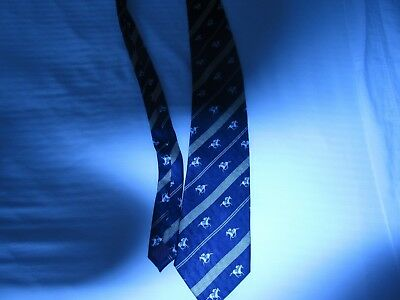horse racing themed NECK TIE thoroughbreds navy