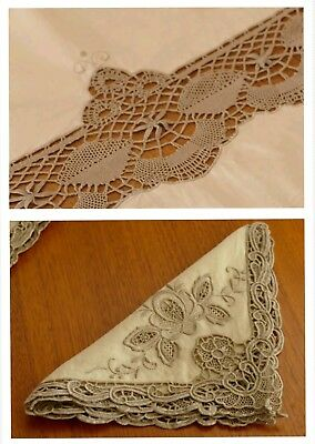 Large Vintage Antique French Linen Lace Embroidered Tablecloth and 12 Serviettes