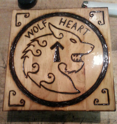 Viking Wood Art - Wolf Heart