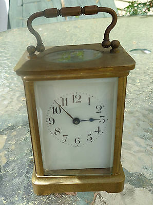 fine antique French brass carriage clock not running