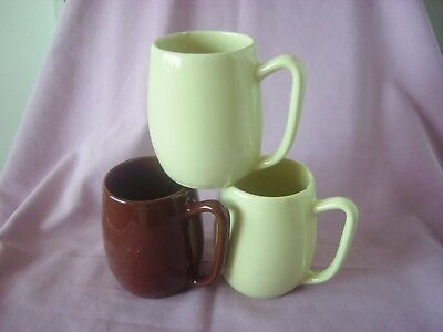 Australian Pottery Group 3 Mugs Brown & Cream Fowlerware Excellent Condition