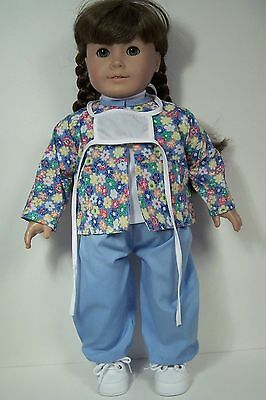 """Nurse Scrubs Costume PANTS TOP JACKET Doll Clothes For 18"""" American Girl (Debs)"""