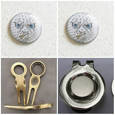 2 Only Angry Face Golf Ball Markers - A Quality Divot Tool Plus A Hat Clip