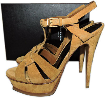 edae95622c9 Ysl Yves Saint Laurent Suede Leather Tribute T-Strap Sandals Pumps Shoe 40.5
