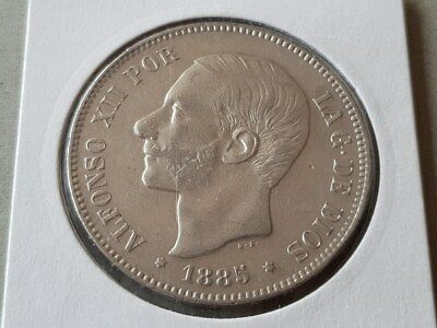 SPAIN 5 PESETAS 1885 18 87 MS- M SILVER coin KING Alfonso XII  KM# 688  Cal# 34