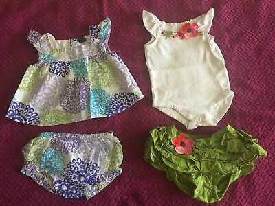 Pre-Owned Mix Set Blouse, Body Suit And Diaper Cover Baby Girl (See Desc)
