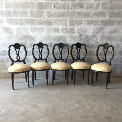 Antique Set Of 5 Unique Dining Chairs In French Louis Xvi Style