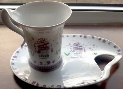 Special Mother China Breakfast Cup & Handled Saucer/plate Set Ex Condition Mum