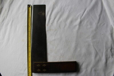 """Vintage 12"""" carpenters 90 degree angle woodworking tool - wood brass and steel"""