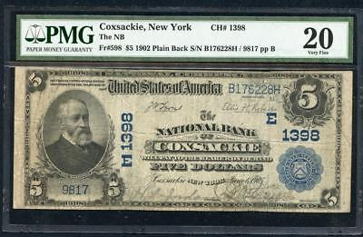 1902 Coxsackie Ny $5.00 Pb From Greene County Awesome Note  Pmg 20 Lqqk!!*